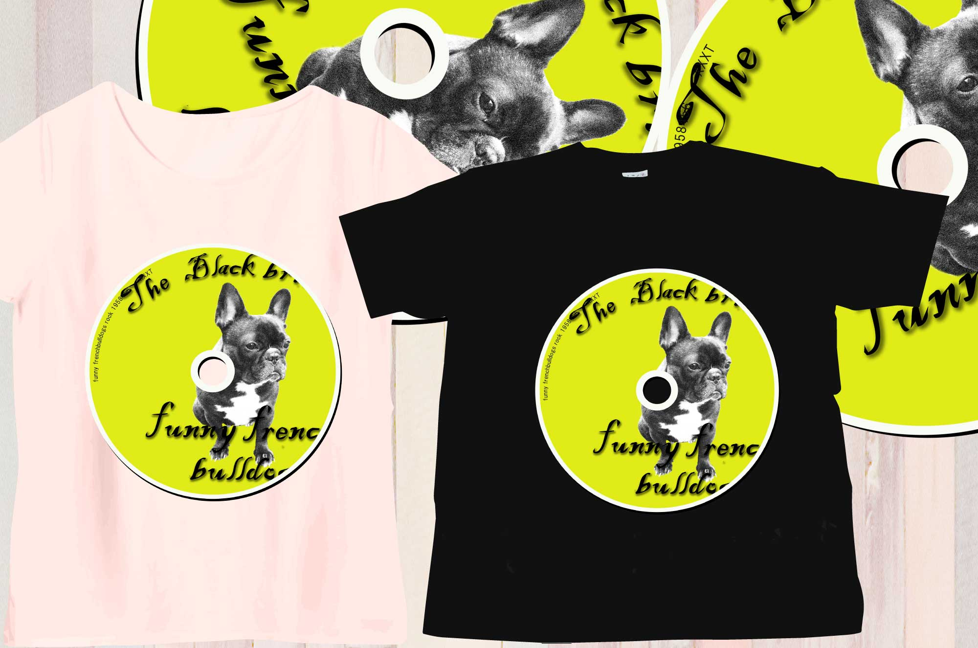 フレンチブルドッグとCDの面白いデザインTシャツ
