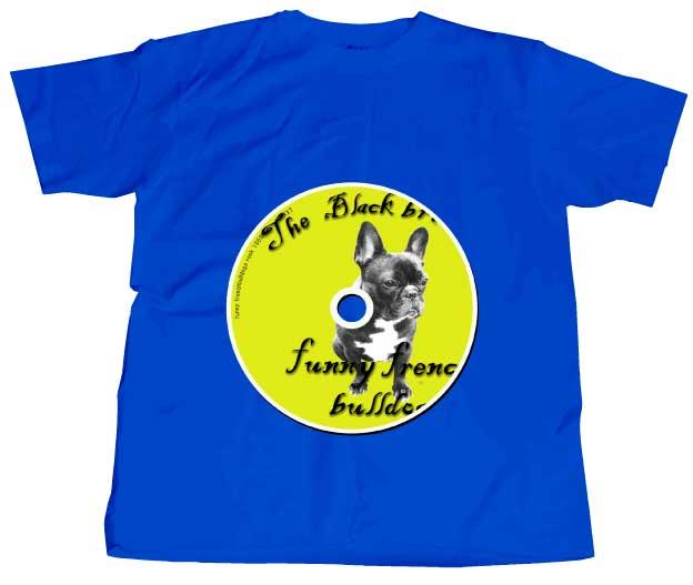フレンチブルドッグCDはなハイクォリティTシャツ ブルー