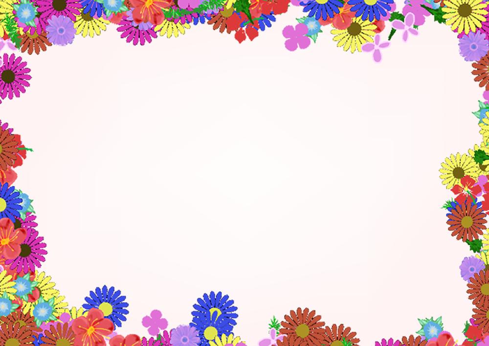 カラフルな花の四角フレーム(背景あり1000×708)