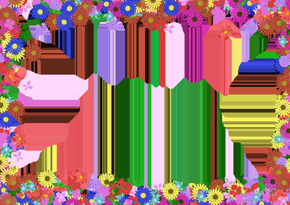 カラフルな花の四角フレーム(背景なし1000×708)
