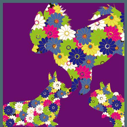 花柄ドッグデザイン