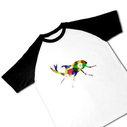 花柄ラグラン半袖Tシャツ