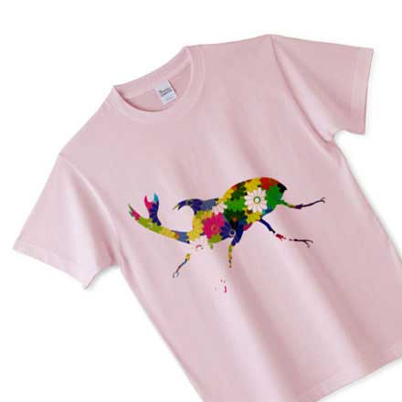 ピュアピンクなノーマル花柄カブト虫Tシャツ