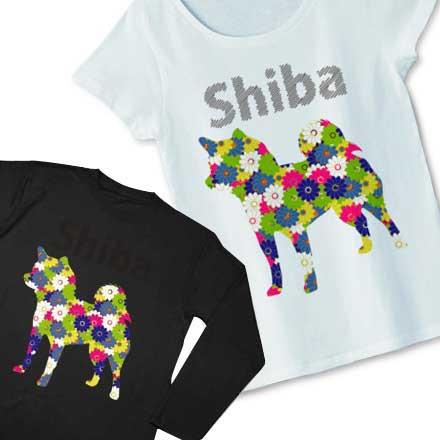 可愛い花柄の柴犬Tシャツ&グッズ☆