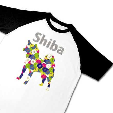 柴犬花柄シルエットラグランTシャツ