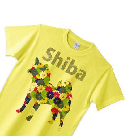 イエロー柴犬花柄Tシャツ