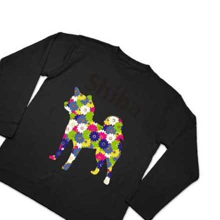 花柄ブラック長袖デザインTシャツ