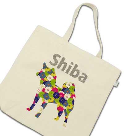 花柄柴犬のトートバッグ