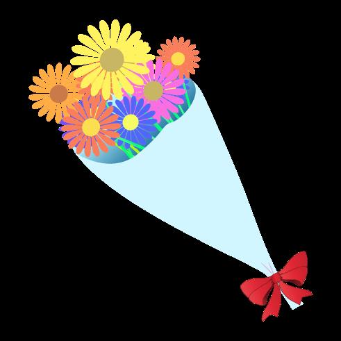 カラフルな花束のイラスト