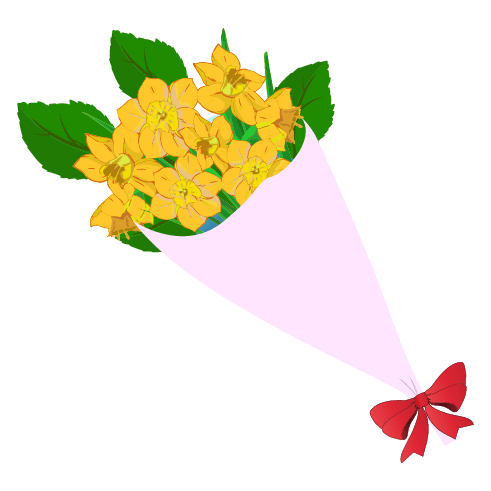 黄色い花の花束のイラスト