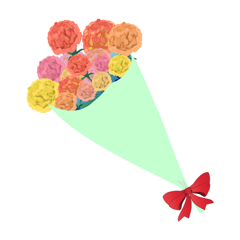 カーネーションの花束のイラスト