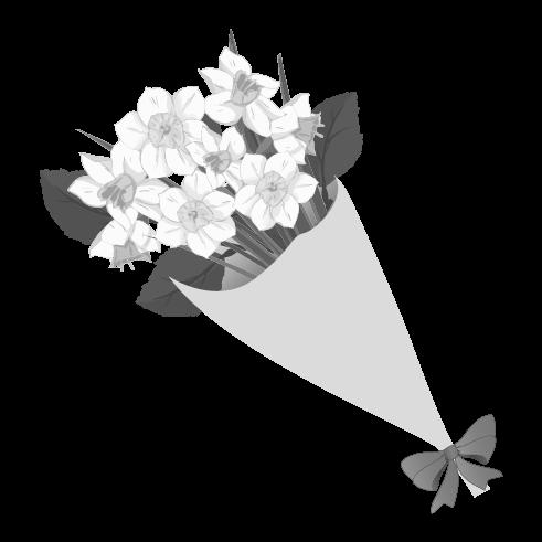 白黒の花束のイラスト