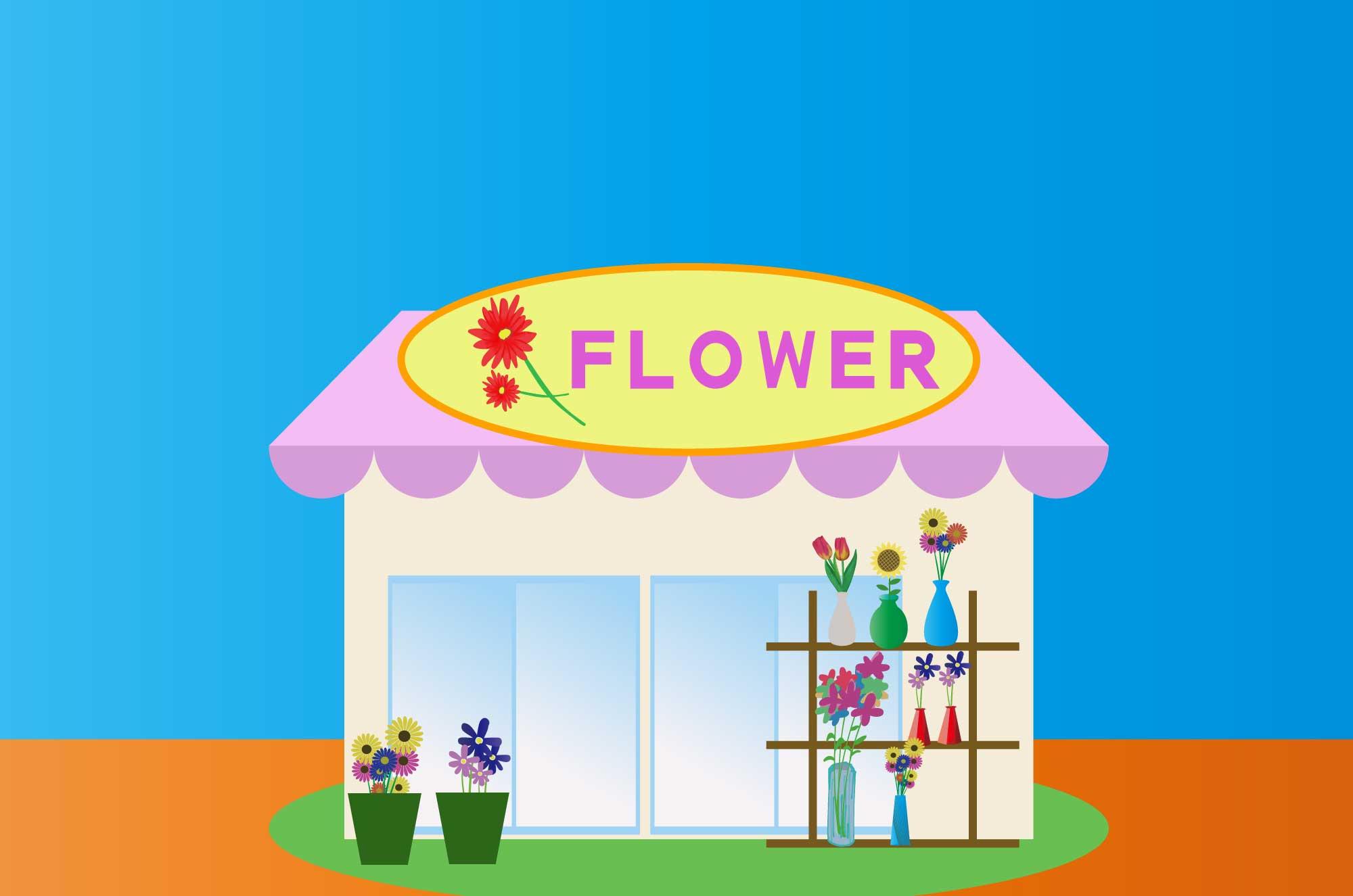 花屋の無料イラスト - フラワーショップの建物素材