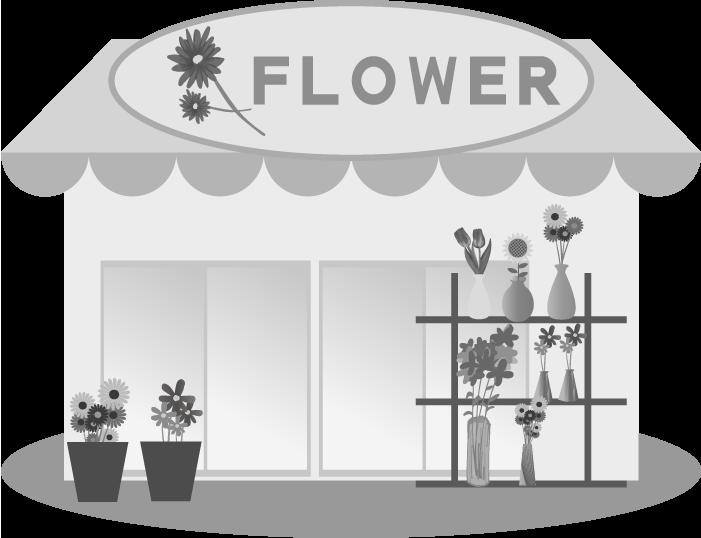 花屋の白黒イラスト