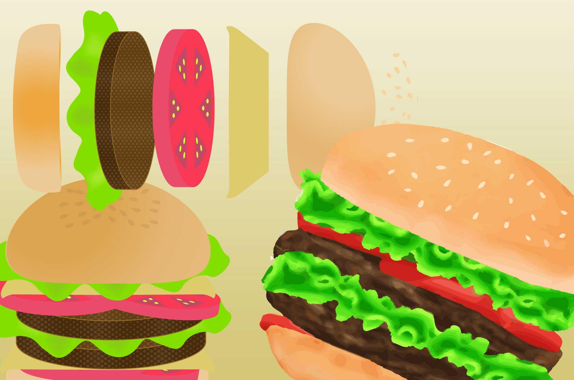 ハンバーガーのイラスト - 美味しそうなフード素材