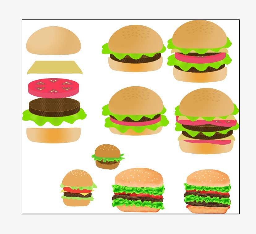ハンバーガーのベクターイラストセット