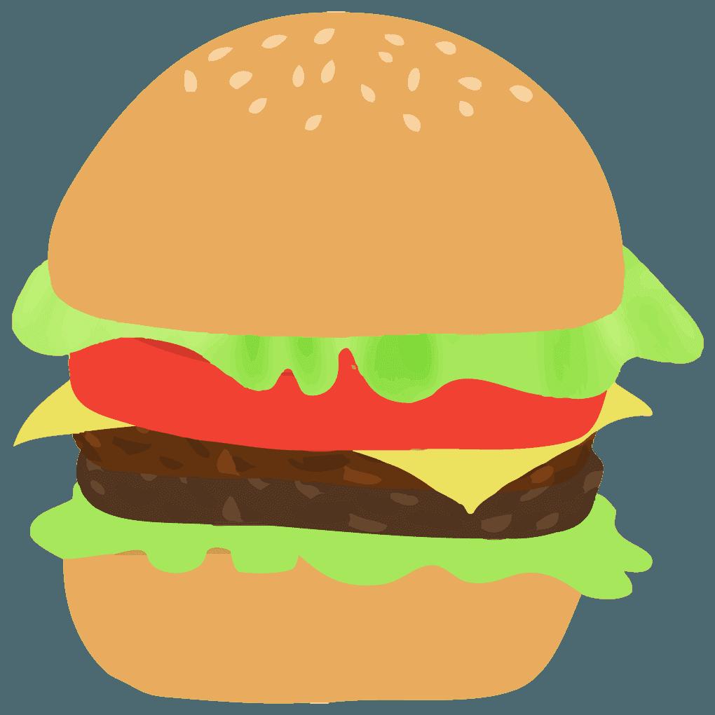 トマトレタスチーズのハンバーガーイラスト