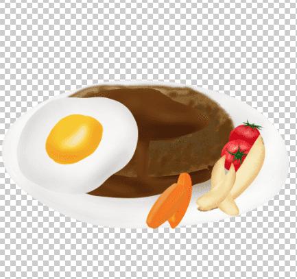 ハンバーグイラストを動かした野菜とエッグ