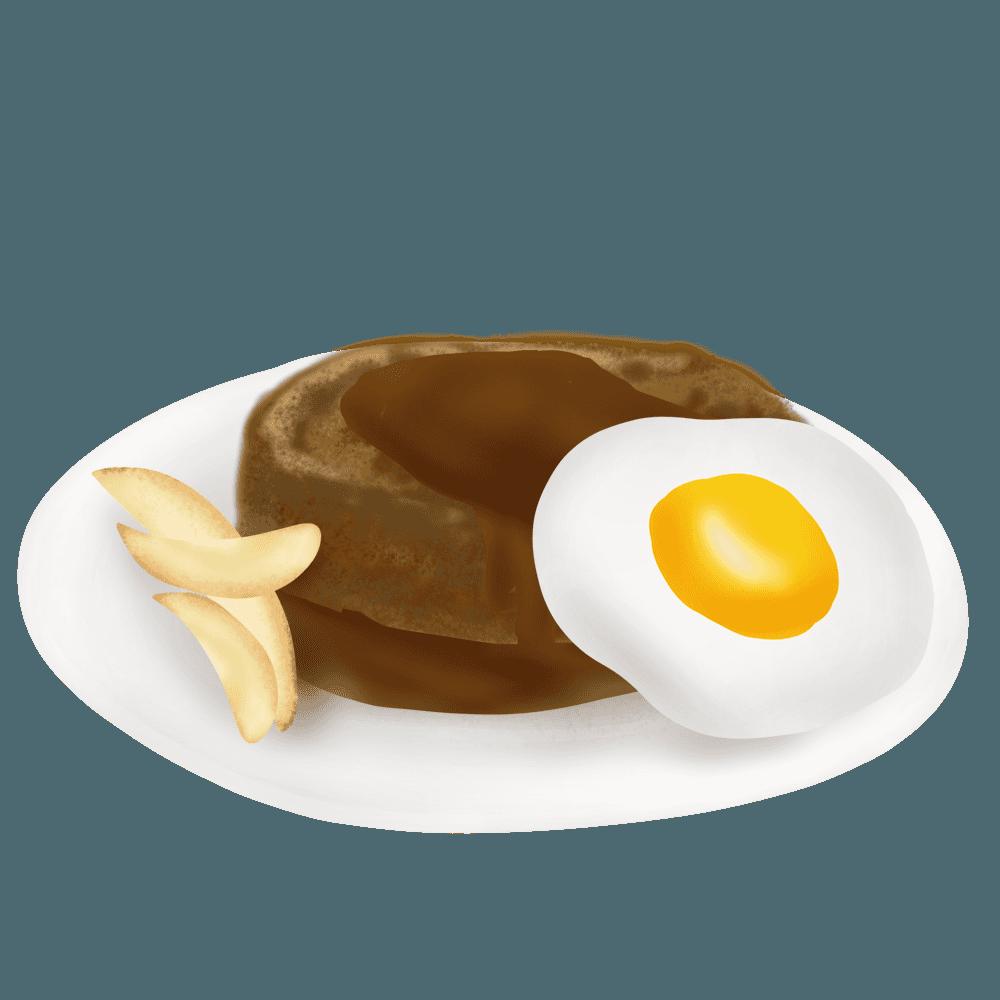 エッグハンバーグポテトのグイラスト