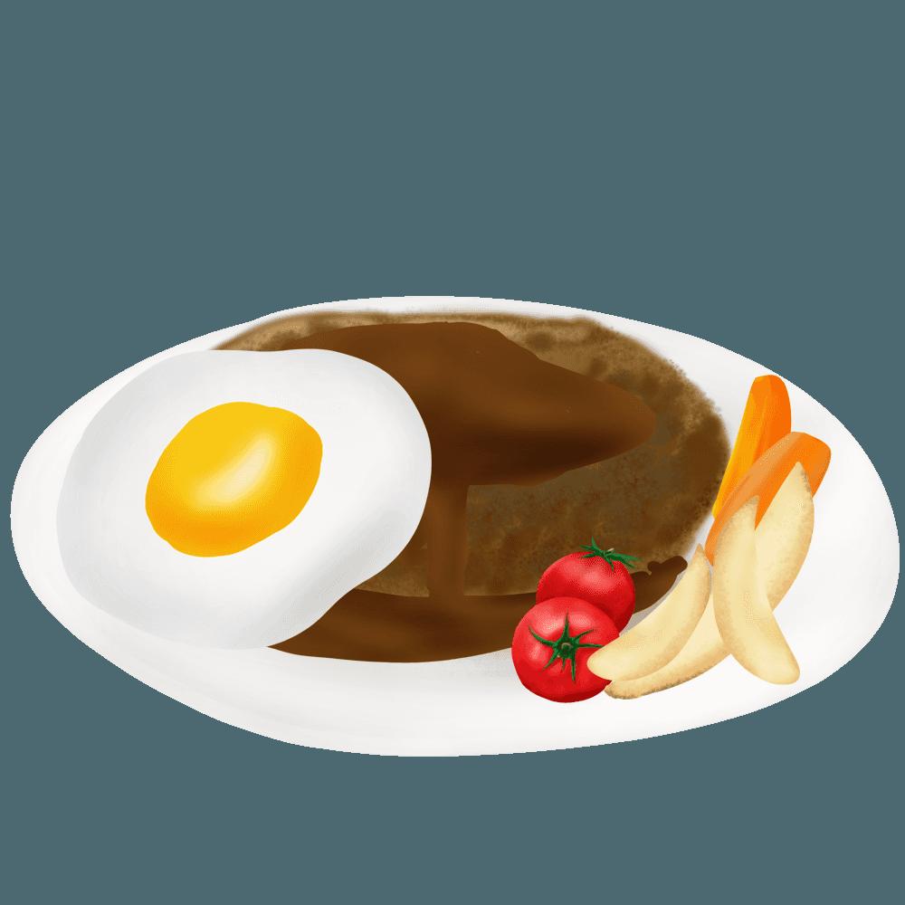 エッグハンバーグとポテトとプチトマトイラスト