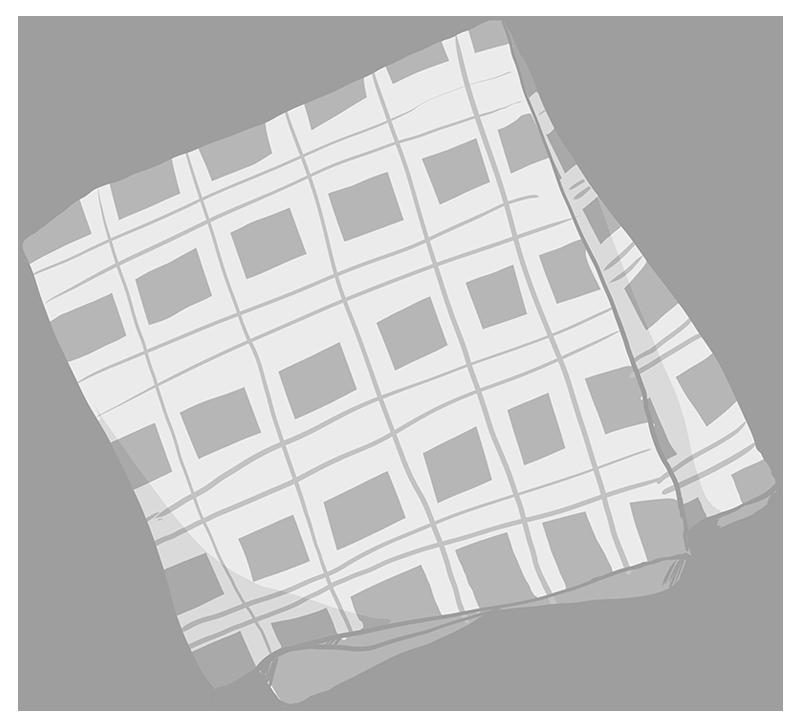 ハンカチのイラスト(白黒)