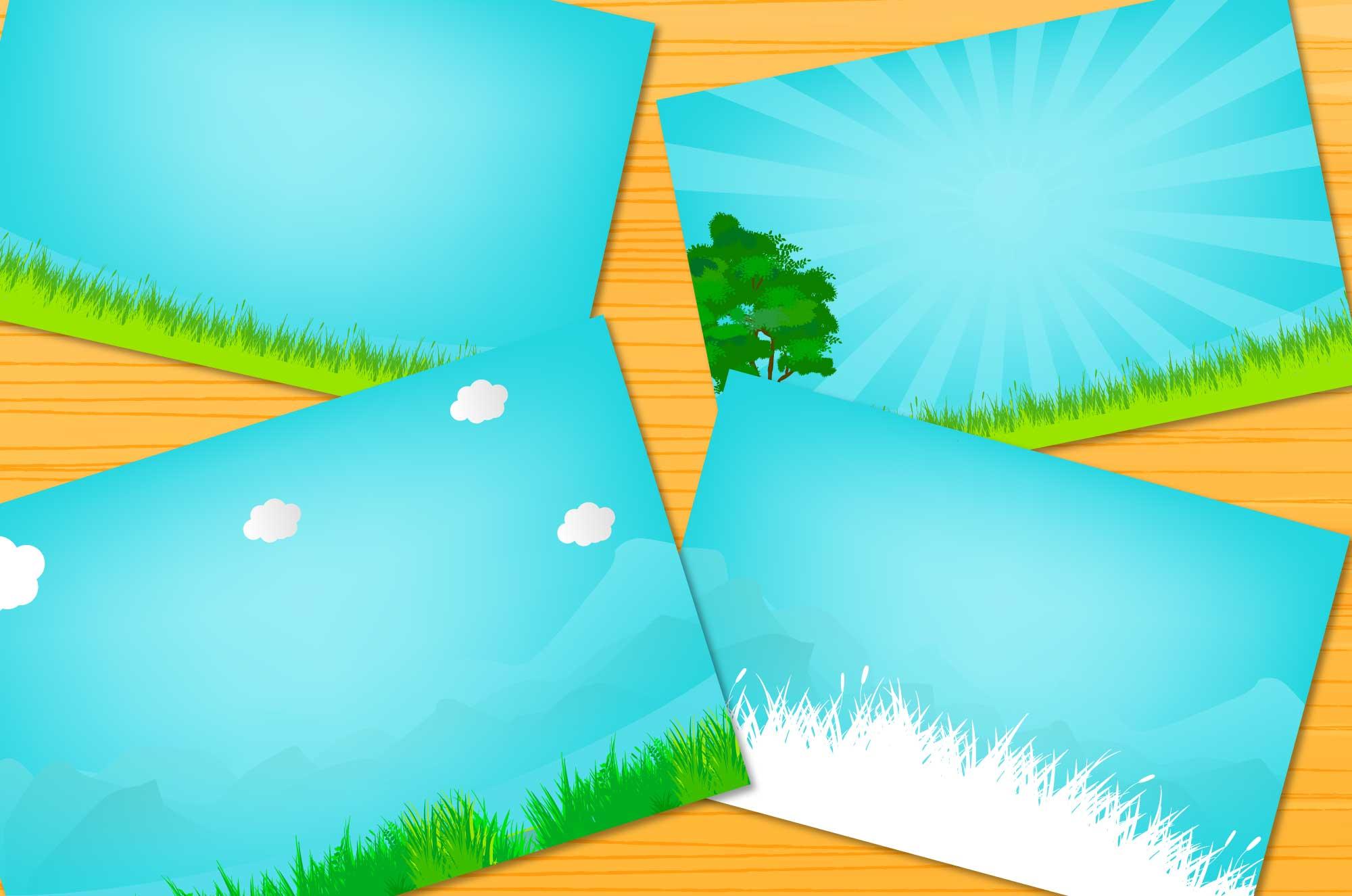 新緑の原っぱと青空の風景イラスト - 背景フリー素材