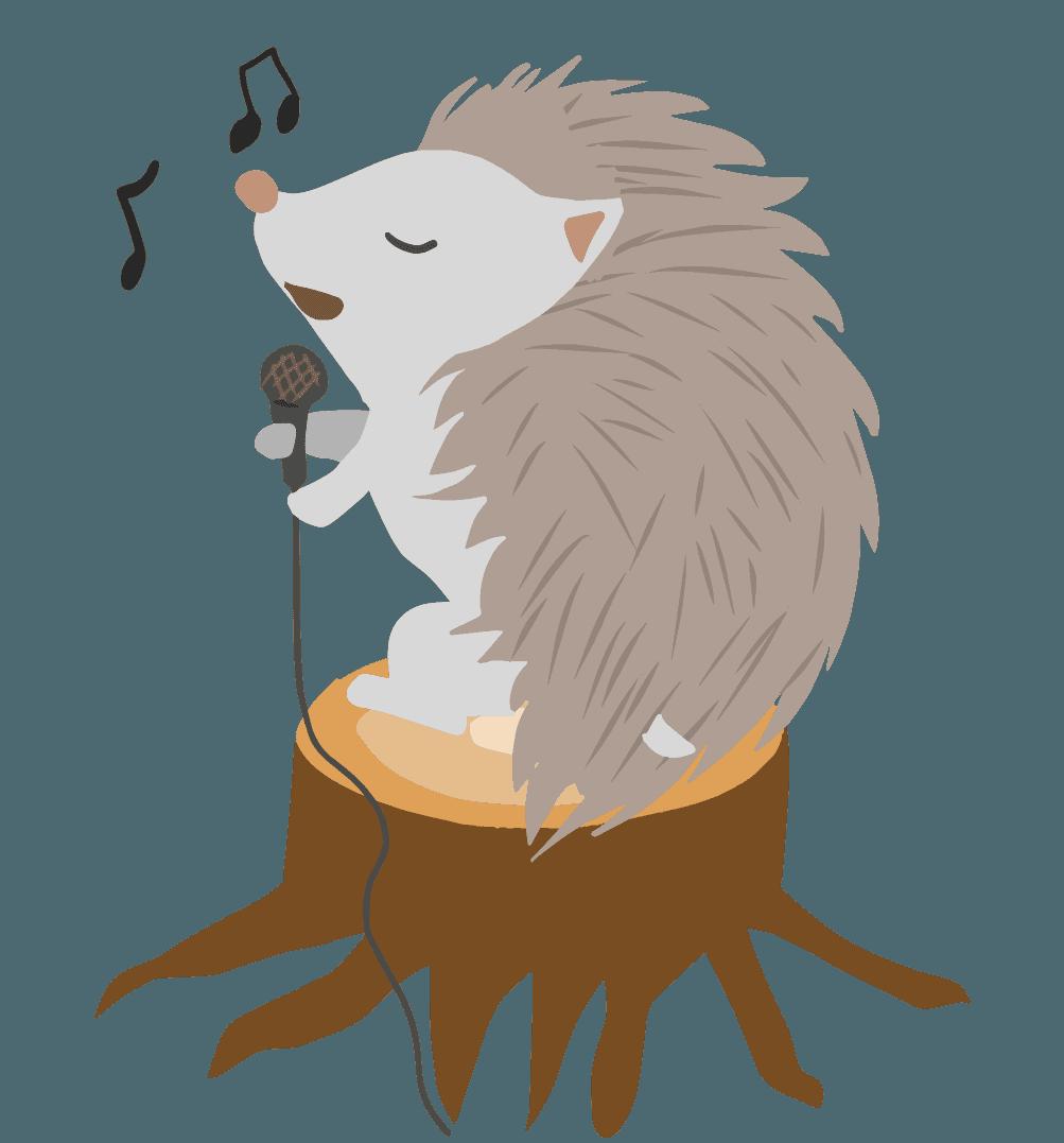 歌を歌うハリネズミのイラスト