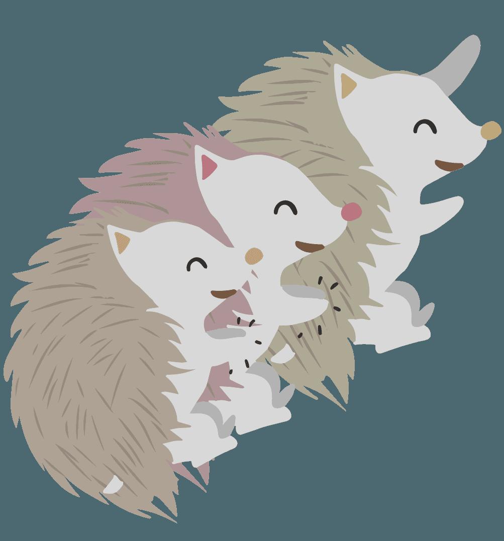 喜ぶハリネズミの集団のイラスト