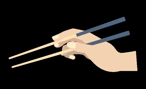 開いた手と箸のイラスト