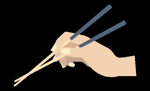 箸のバッテン持ちのイラスト