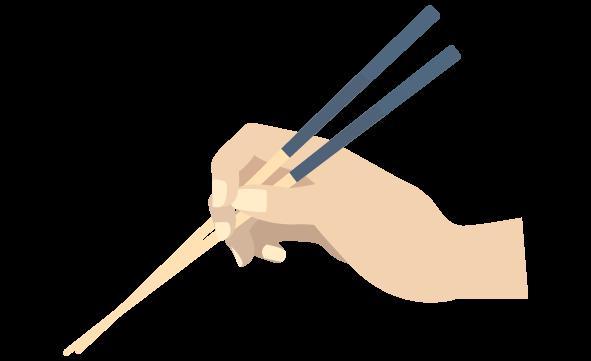 クロスする箸の持ち方のイラスト