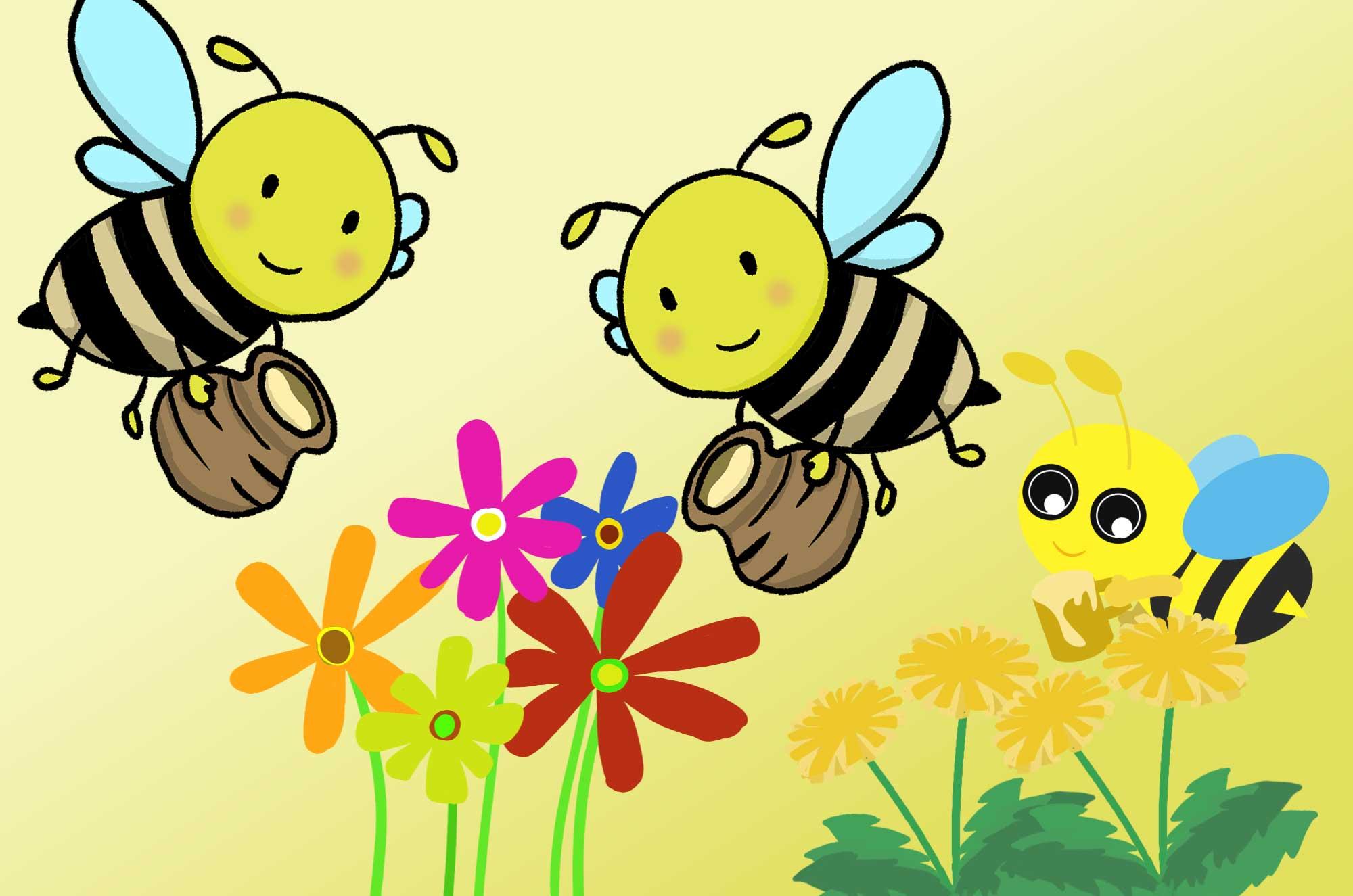 蜂のイラスト - 可愛い手書きのミツバチの無料素材