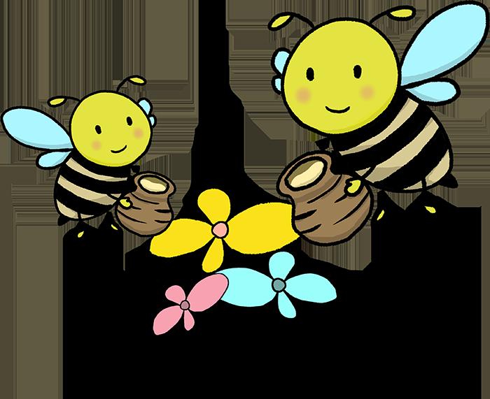 可愛いハチさんとお花のイラスト