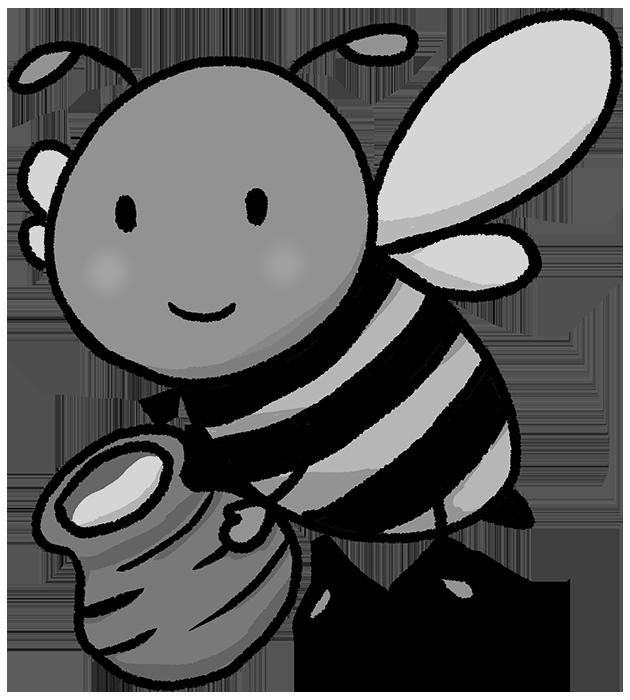 可愛い蜂の白黒イラスト