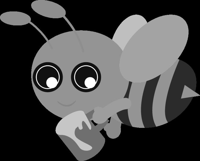シンプルな蜂の白黒イラスト
