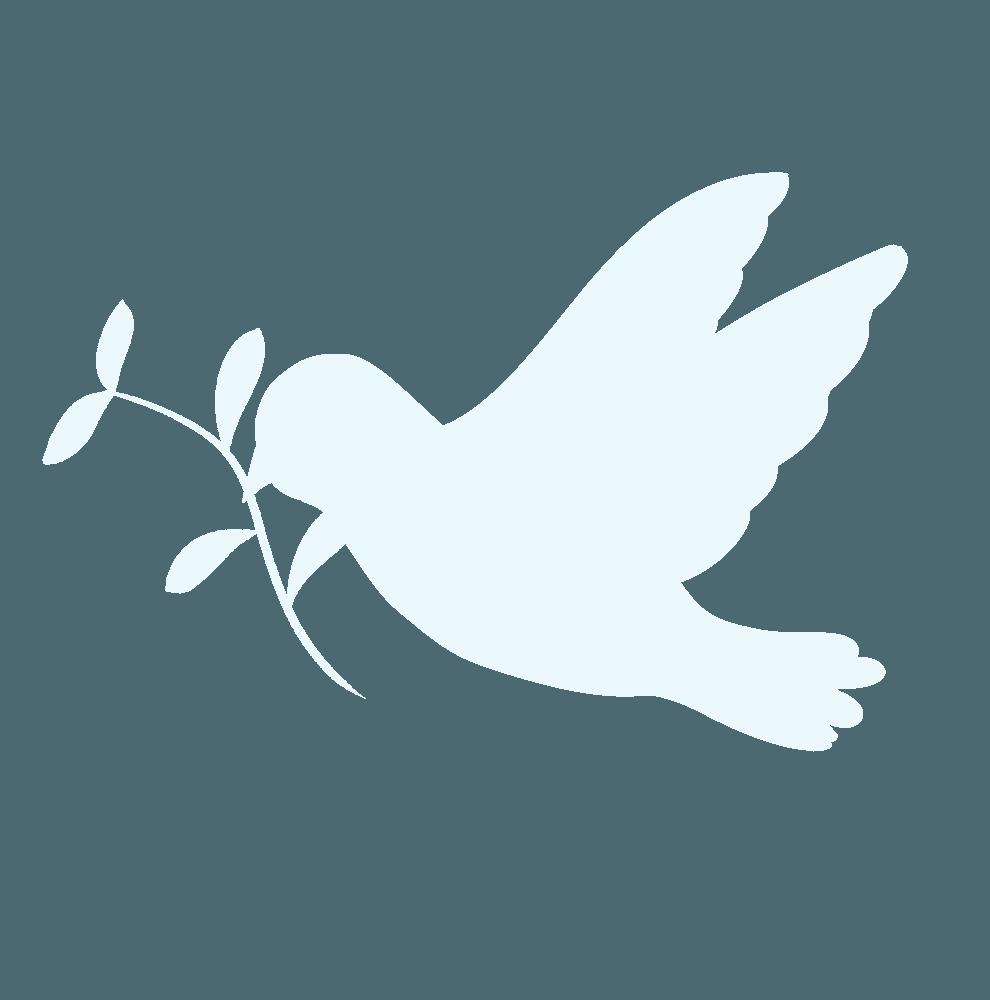 葉っぱを加えて飛ぶ鳩シルエット