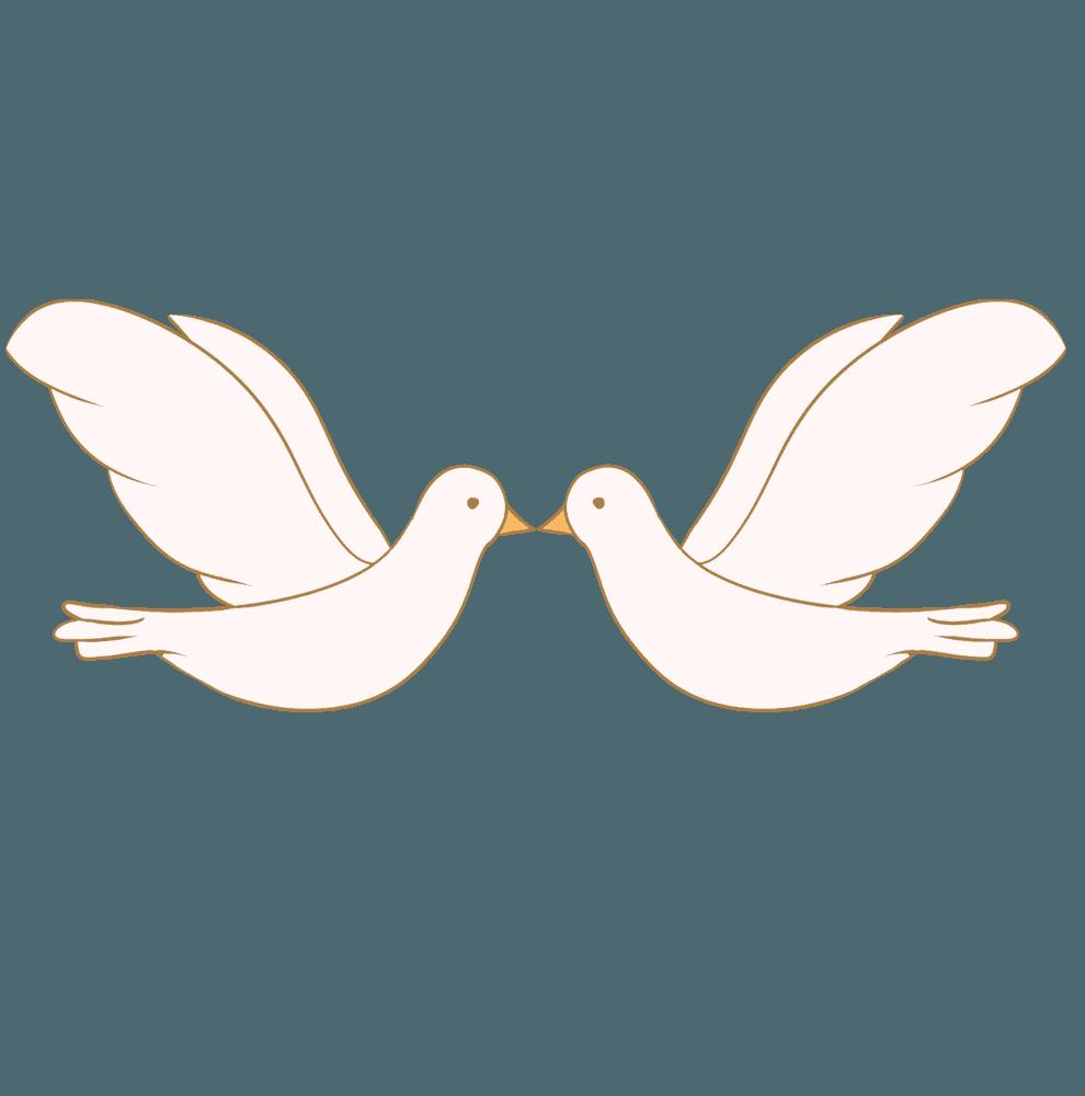 向い合って飛ぶ白い鳩のイメージイラスト