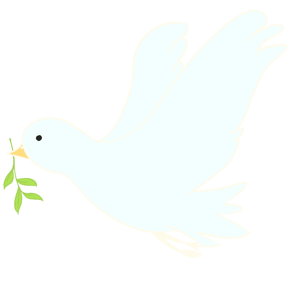 草を加えて飛ぶ可愛い鳩イラスト
