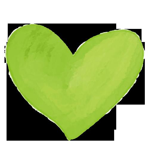 黄緑色の可愛い水彩ハート