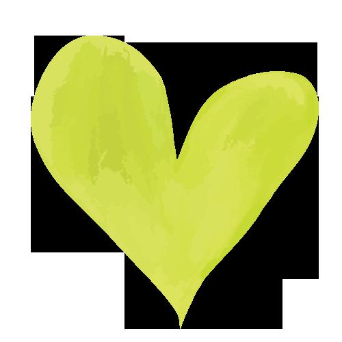 黄色の水彩ハート