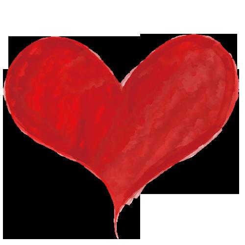 可愛い赤の水彩ハート