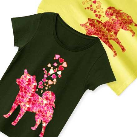 キュートなハートと柴犬のシルエットTシャツ&グッズ
