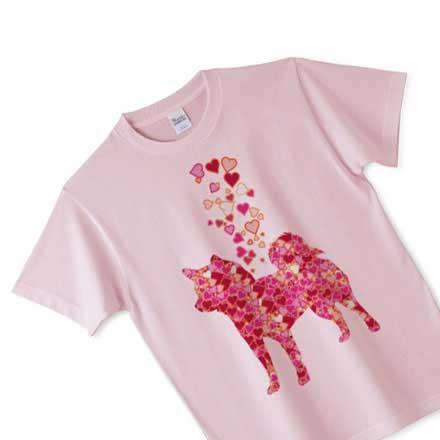 ピンクボディの柴犬ハートシルエットTシャツ