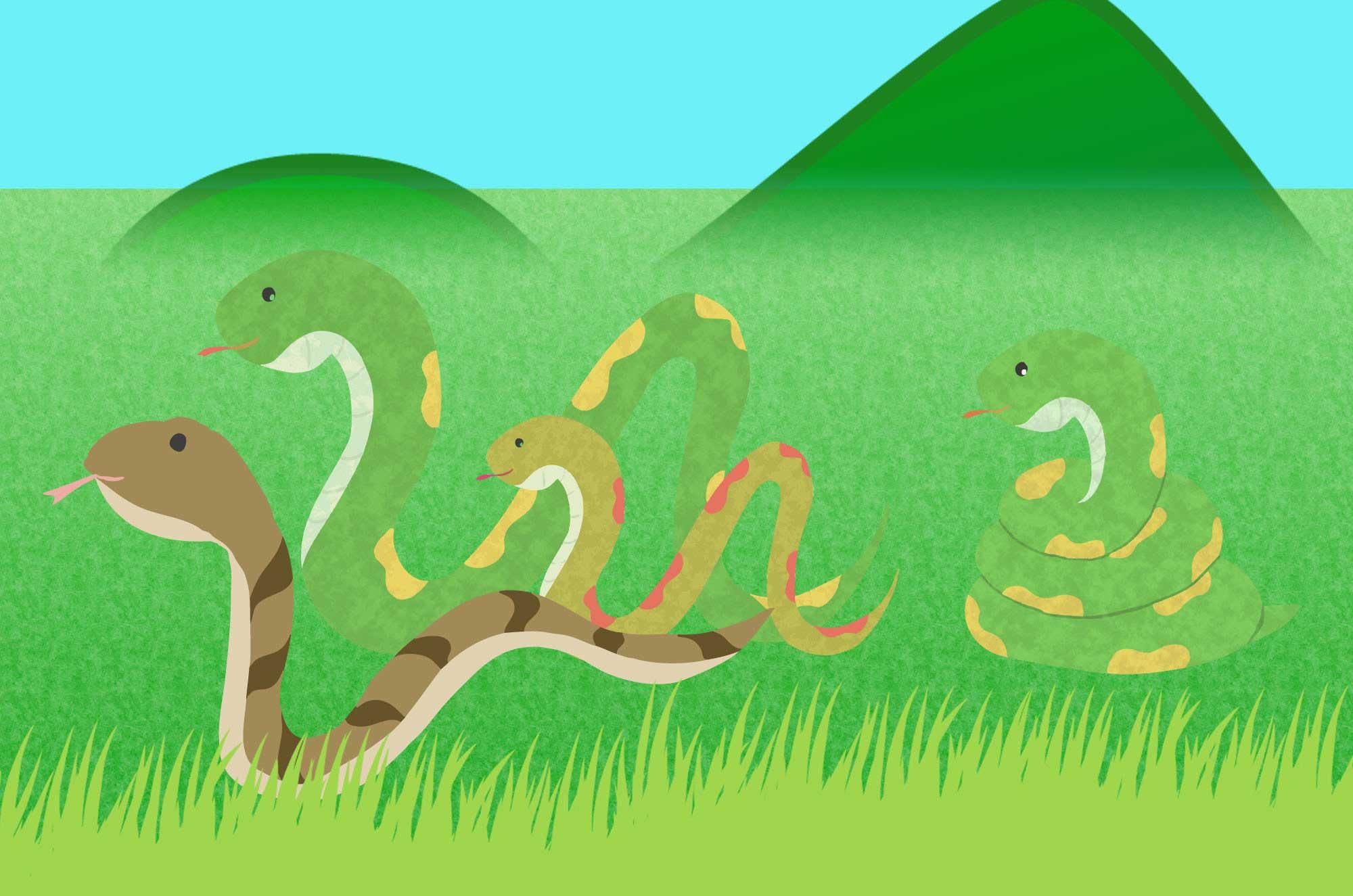 可愛い蛇イラスト - 手描きで描いた柔らかフリー素材