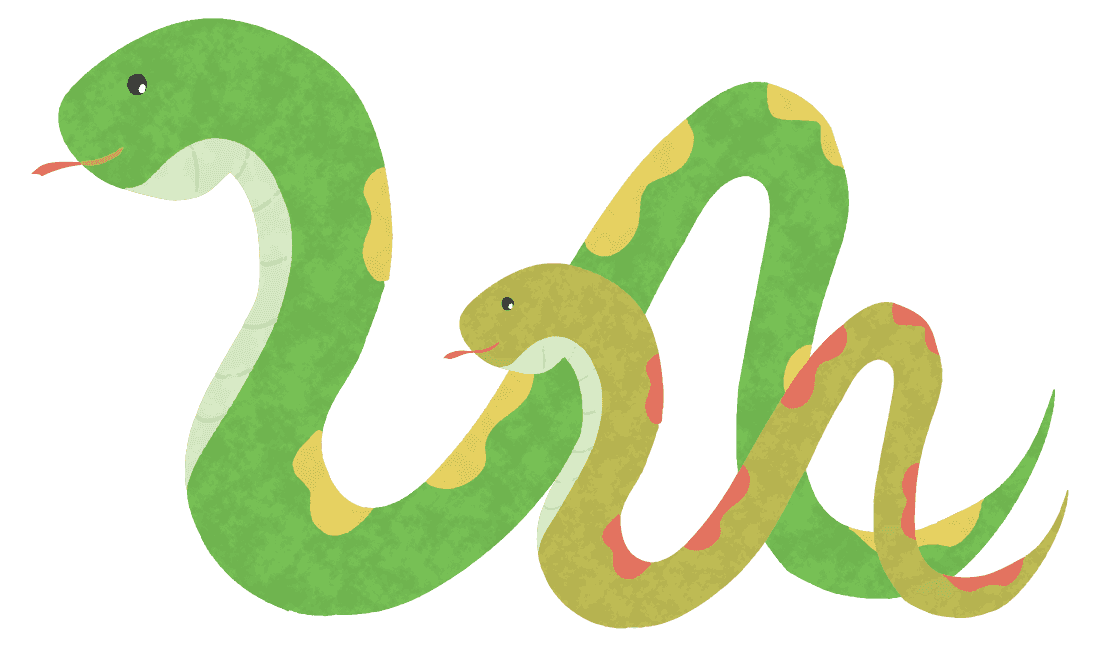 ニョロニョロ蛇親子イラスト