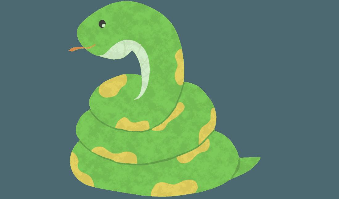 とぐろを巻く可愛い蛇イラスト