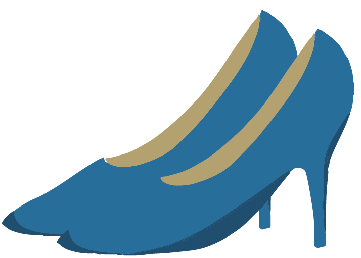 青いハイヒールのイラスト