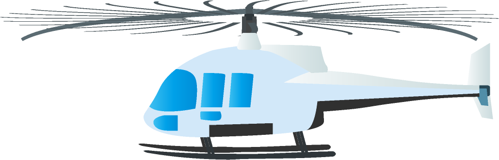 飛び立ったヘリコプターのイラスト