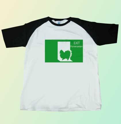 非常口のポメラニアンTシャツ