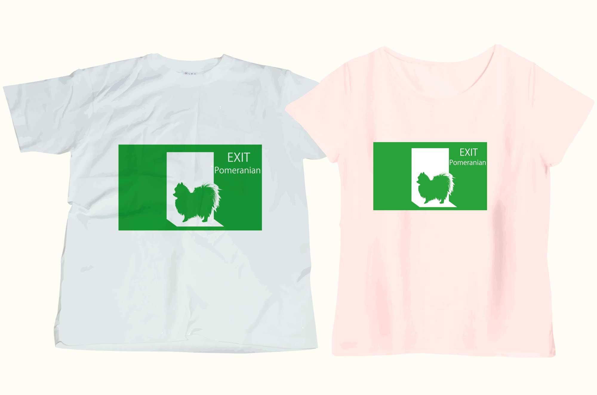 非常口のポメラニアンTシャツ - 話のネタになるデザイン